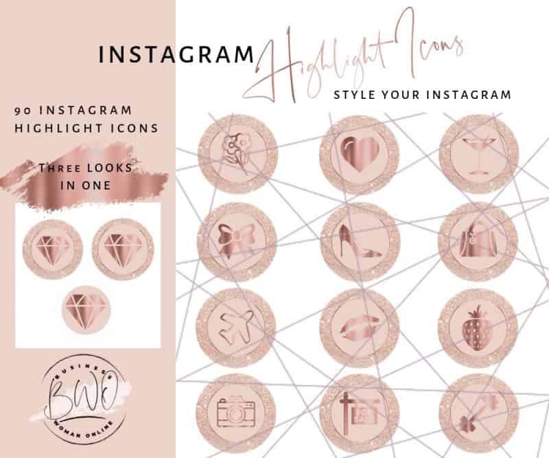 Instagram Highlight Icons Pink Rose Gold Glitter