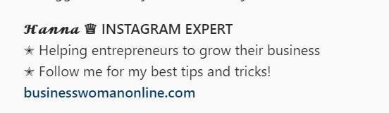 Different Font Instagram Bio