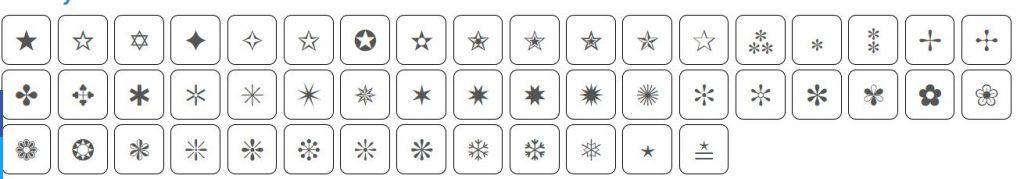 Test symbols